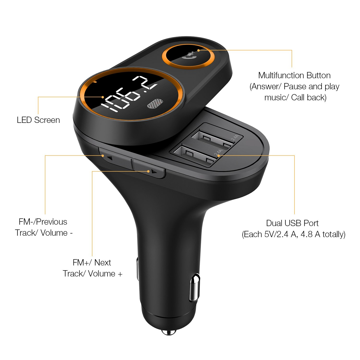 FM Transmitter, Frienda Wireless In-Car FM Radio Adapter 5 V/4.8 A Dual USB Ports Car Charger for iPhone iPad Samsung Android Phones, Hands-free Calling, MP3 Player, Support for Bluetooth by Frienda (Image #7)