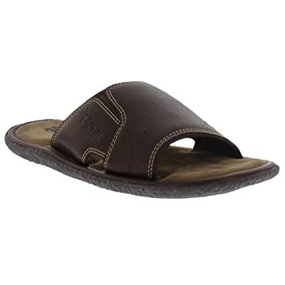Khombu Mens Memory Foam Slide Sandal, Brown, Large, 11-12 M US | Sandals