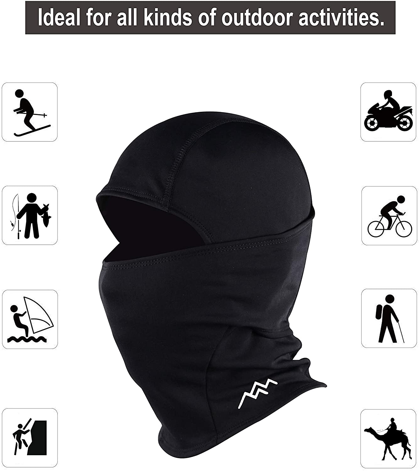 TRAILSIDE SUPPLY CO. Balaclava Face Mask Sun Hood Tactical Lightweight Ski Motorcycle Cycling Running,Black: Clothing