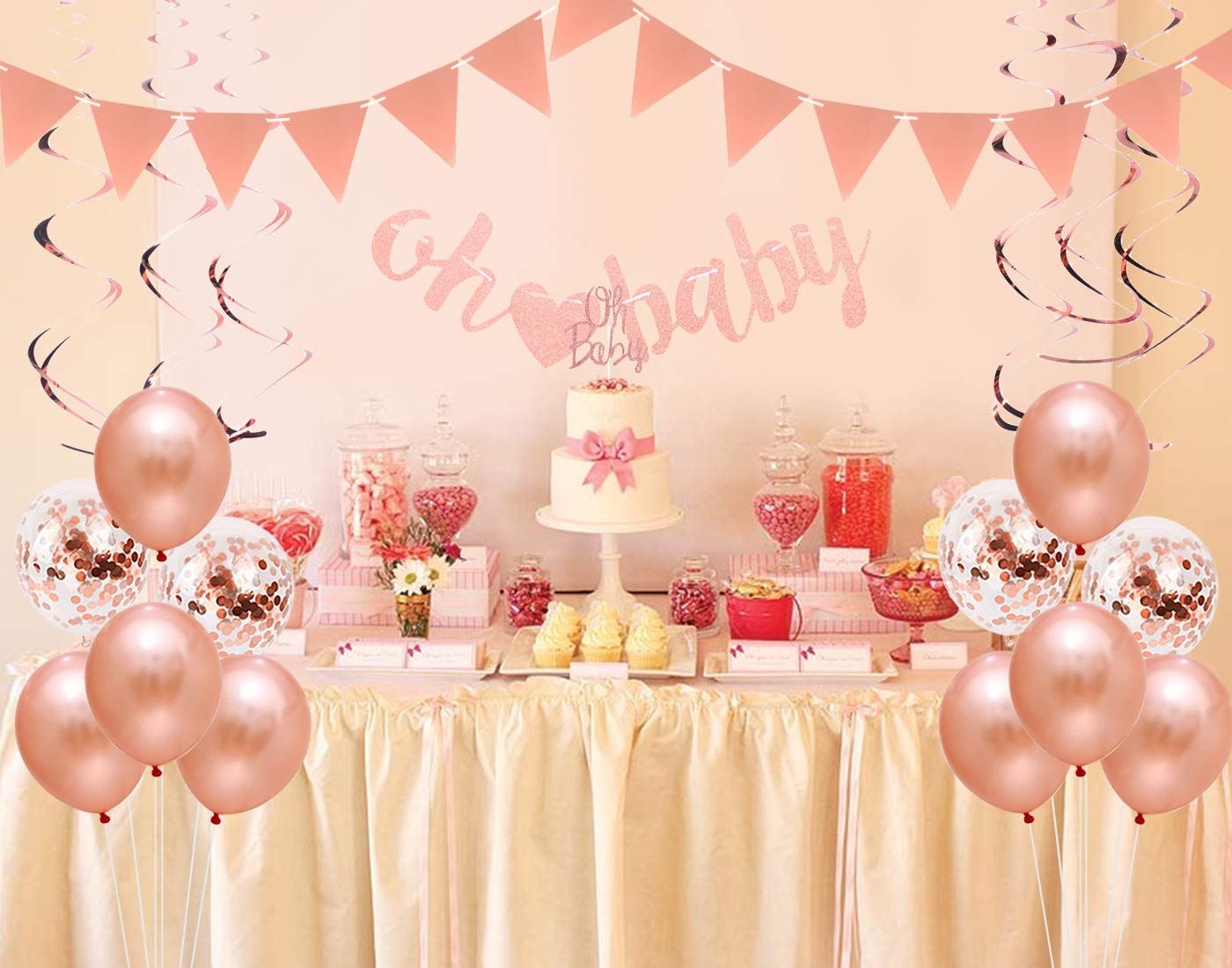 "Baby Shower Decorations Rose Gold for Girls with /""Oh Baby/"" Letter Banner Pennant Banner and Swirl Decorations Glitter Cake Topper"