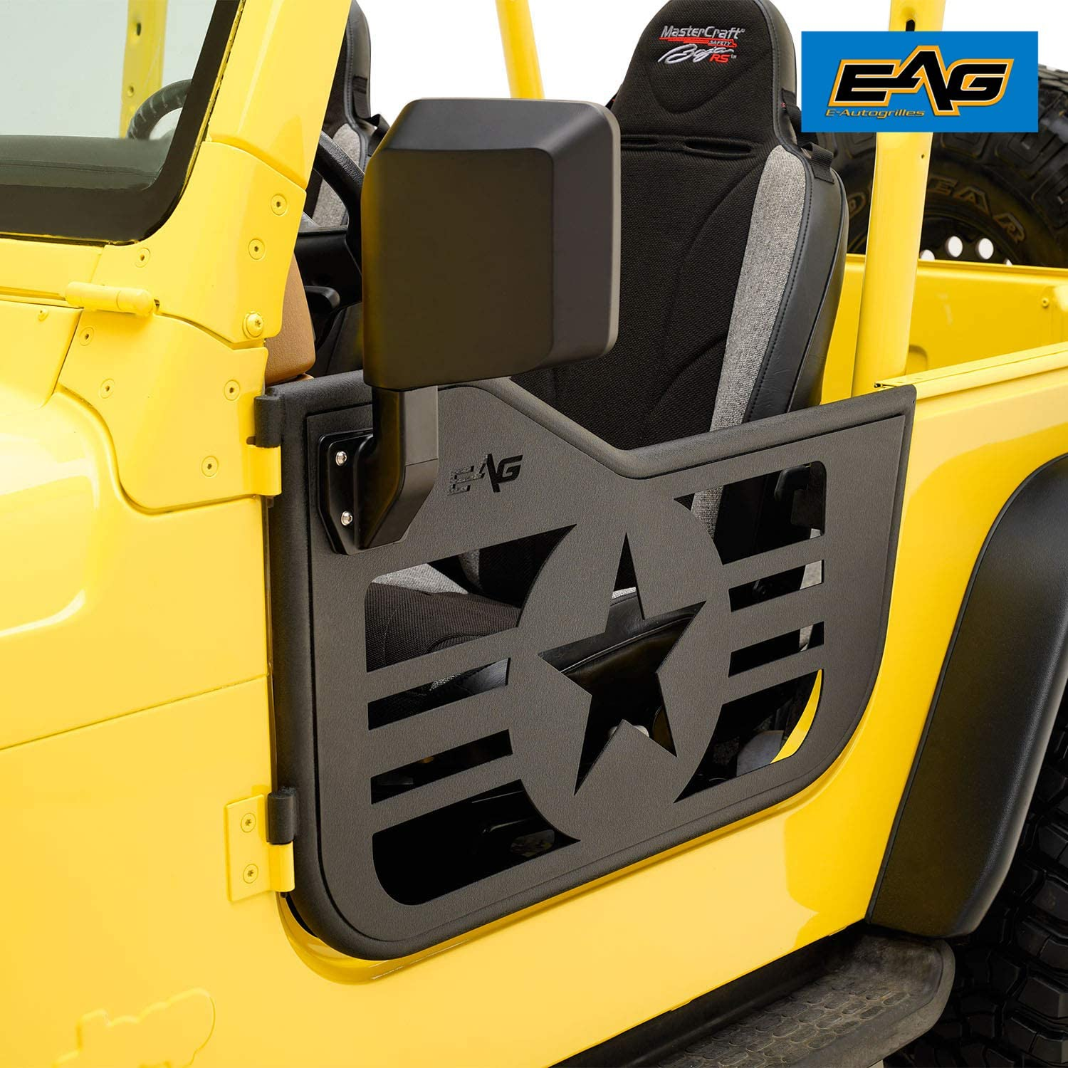 EAG Matrix Steel Tubular Door with Side Mirror Pair for 97-06 Jeep TJ Wrangler