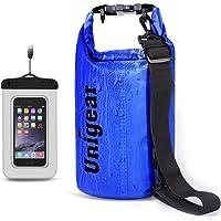 Unigear Sacs Imperméables/Sacs Etanches pour Activités de Plein Air et Sports Aquatiques Camping Nautique Kayak Pêche (6 Types de Taille: 2L/5L/10L/20L/30L/40L) avec Une Pochette étanche de Téléphone
