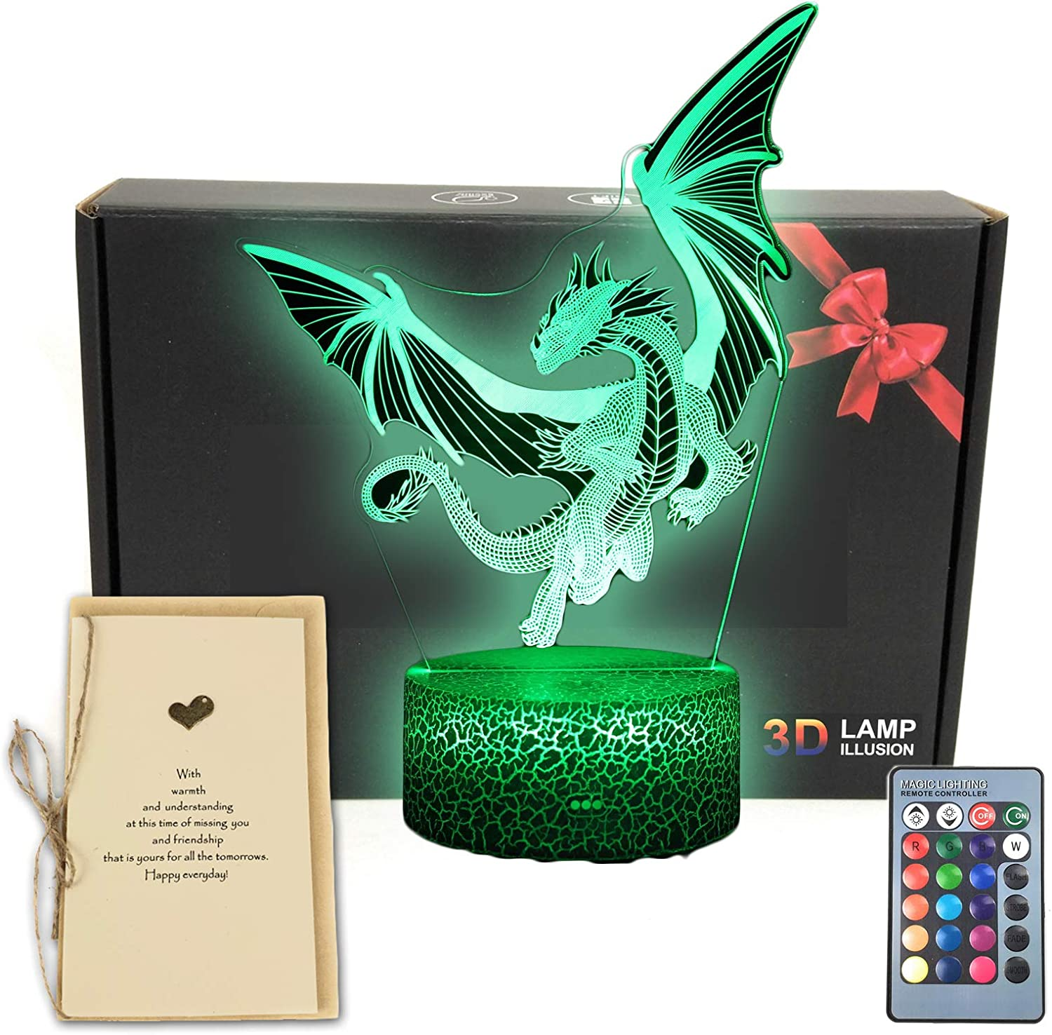 Dragon 3D Illusion LED Table Decor Lamp Night Light with Greeting Card, 16 Colors Change, Remote Control Bedroom Decorations Gifts for Girls, Men, Women, Kids, Boys, Teens