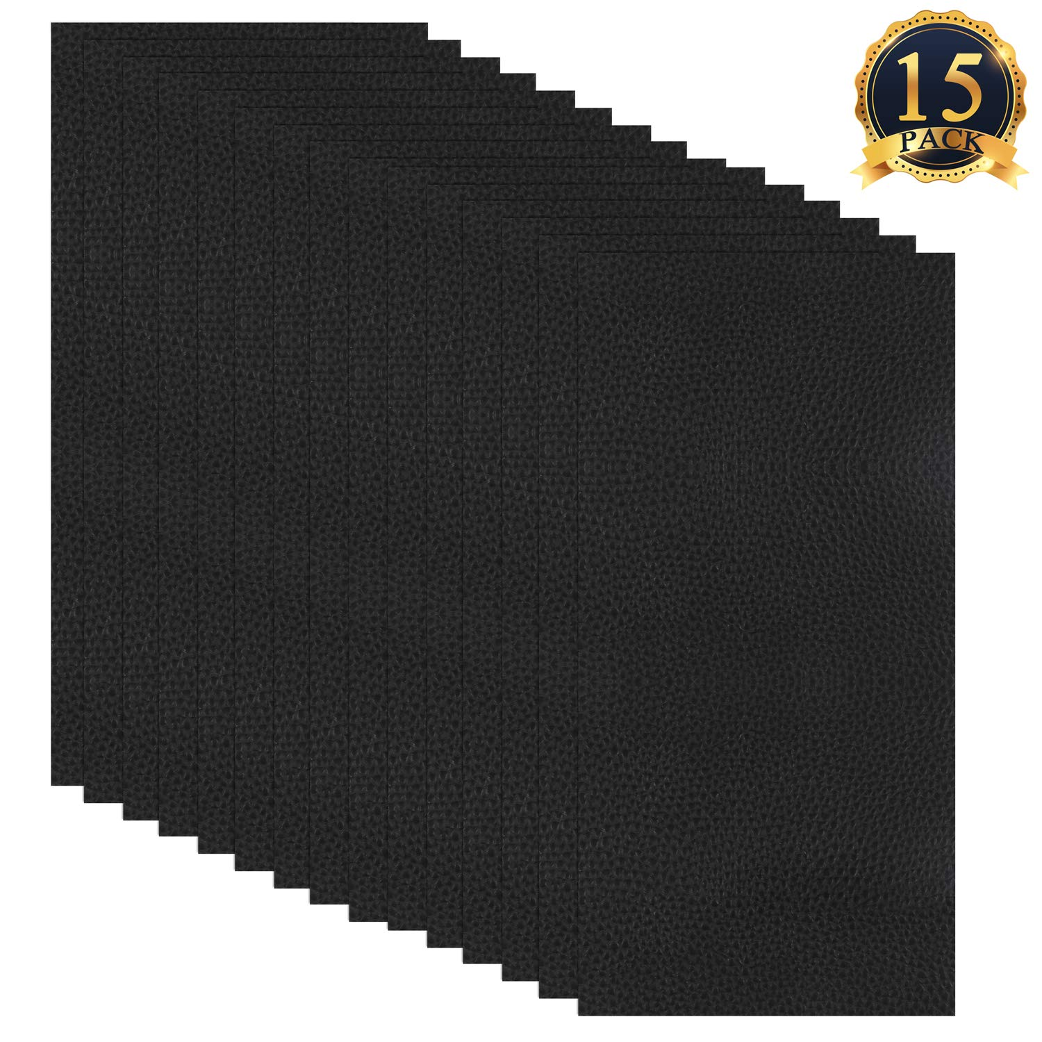 SUBANG 15 Pieces Leather Patches Leather Repair Kit Adhesive Backing Leather Seat Patch for Repair Sofa, Car Seat, Jackets, Handbag, 8 by 4 Inch, Black