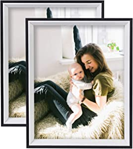 Shirii 8x10 Picture Frame Woodgrain Deep 8x10 Frames for Tabletop Display Wall Mounting Decor 2 Pack Black
