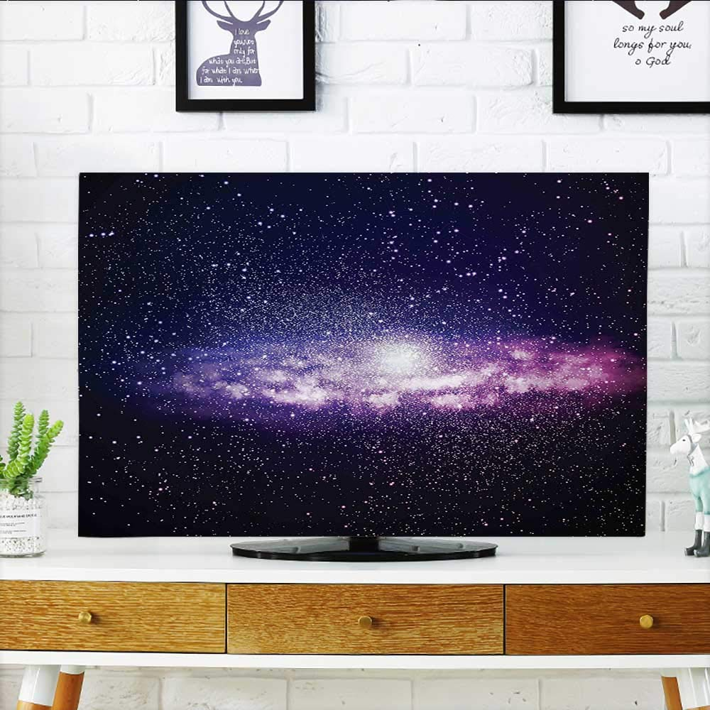 Auraisehome Protect Your TV Nebula Cloud in Milky Way Infinity in Interstellar Solar Explosion Design Purple Dark Protect Your TV W25 x H45 INCH/TV 47''-50'' by Auraisehome
