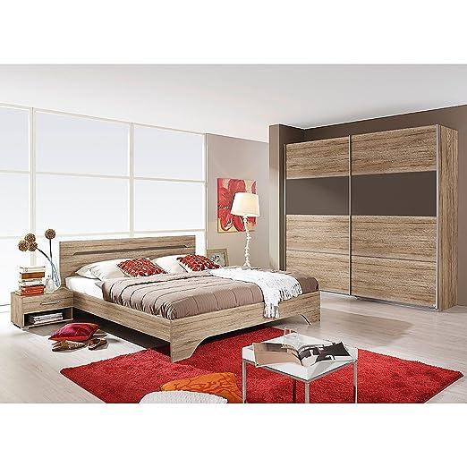 Schlafzimmer Mit Bett 180 X 200 Cm Eiche Sanremo Hell Lavagrau