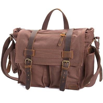 """Vintage Leather Men Briefcase Shoulder Bag 15/"""" Laptop Messenger CrossBody Bag"""