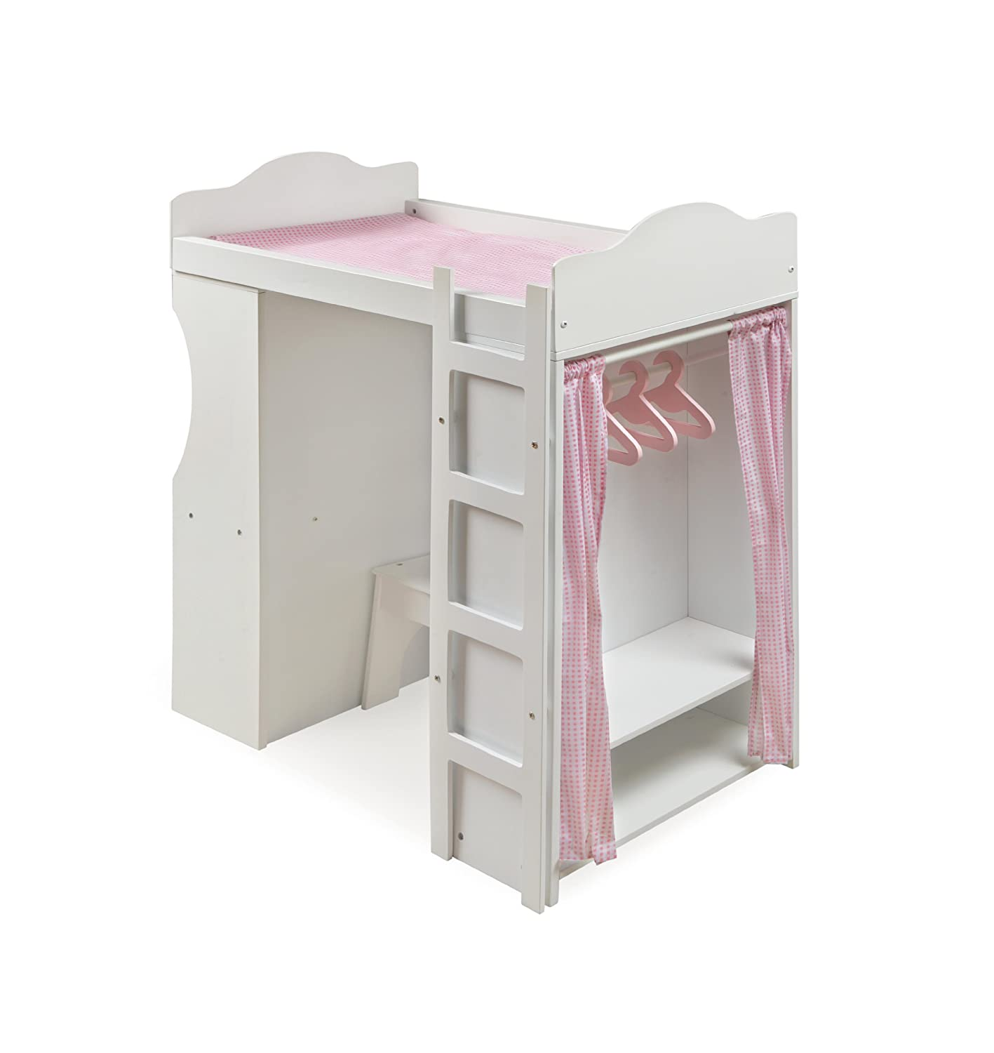 Amazon.com: Badger Basket Loft Doll Bed With Desk Chair Bench Armoire And 3  Hangers   Pink/White: Toys U0026 Games