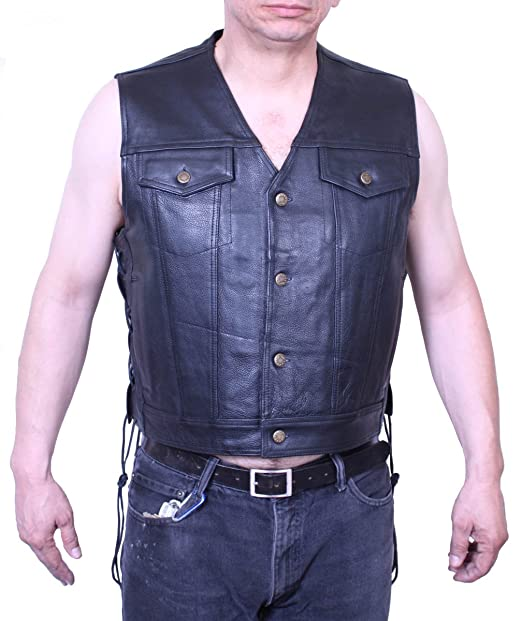 Soft Cow Leather Motorcycle Mens Sleeveless Jean Jacket Style ...