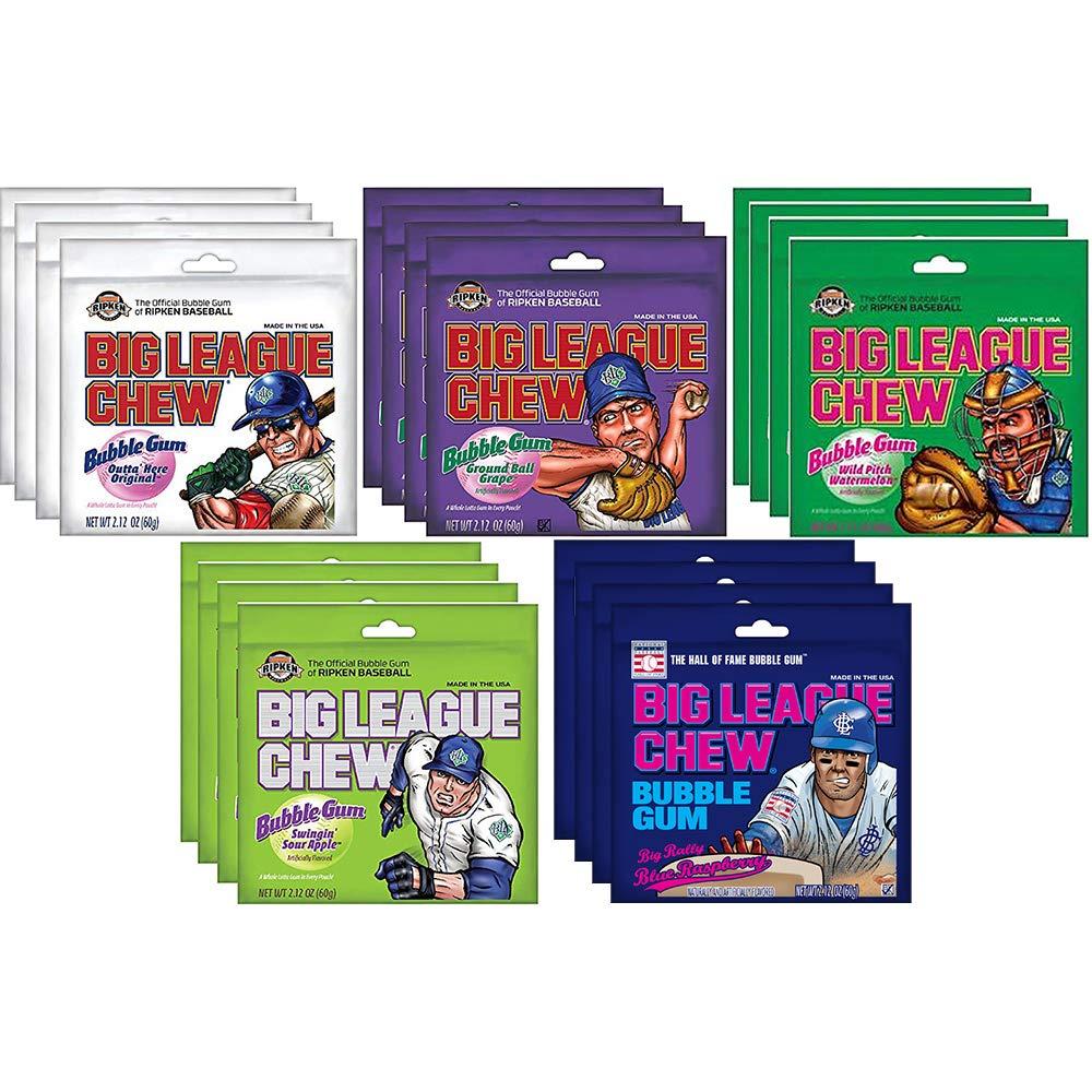Big League Chew Bubble Gum 5 Flavor Variety Pack (Pack of 20) by Big League Chew Bubble gum