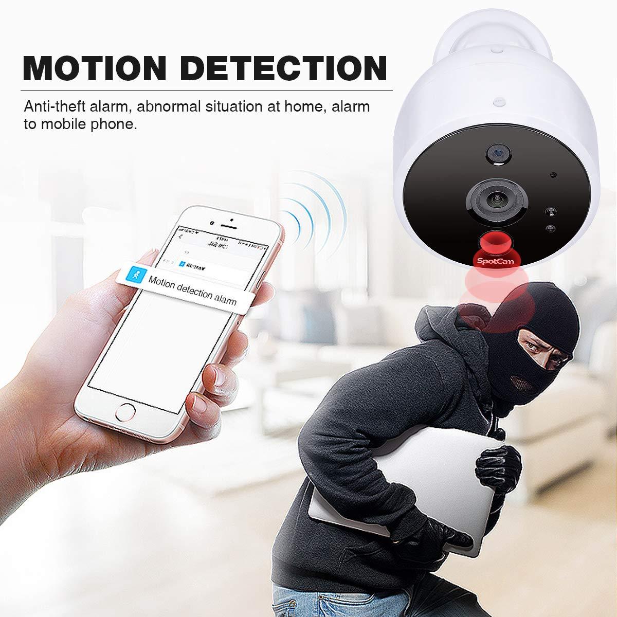 SpotCam - Cámara de vigilancia inalámbrica (Funciona con Pilas, para Interiores y Exteriores, Compatible con Alexa y Google Home), Color Blanco: Amazon.es: ...