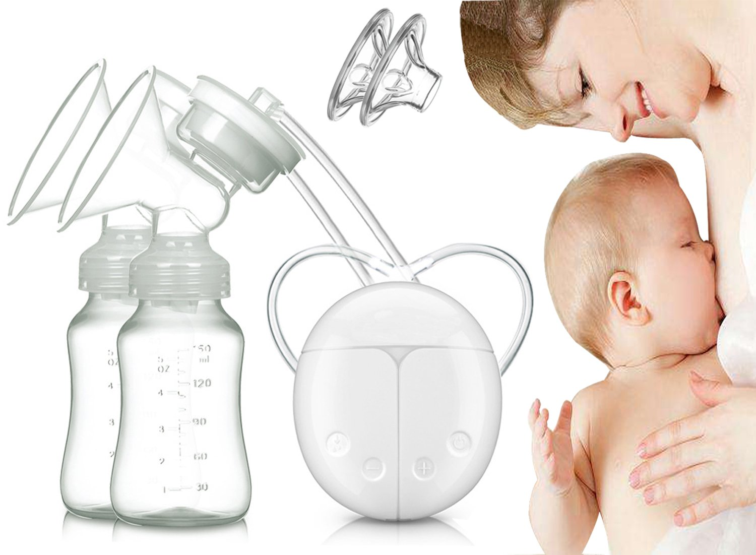 Dual Electric Breast Pump with Charge Plug and Automatic Massage for Postpartum Prolactin CanonG BP001