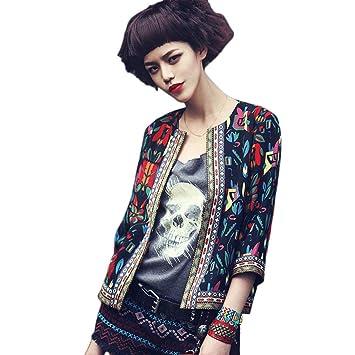 FeiXiang - Chaqueta para mujer, estilo retro, diseño floral, para exteriores, parca, abrigo medium negro: Amazon.es: Hogar