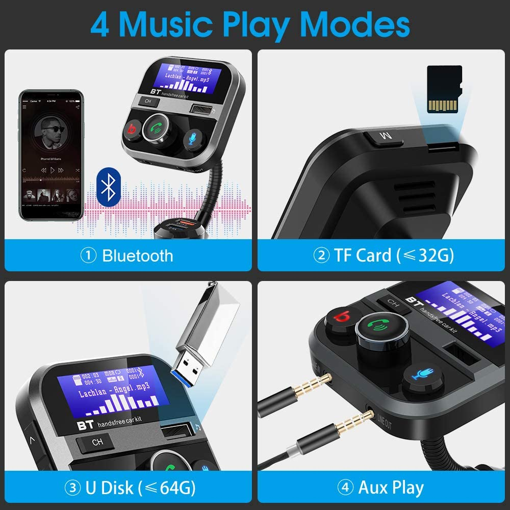 4 Music Modes Doosl Car Charger Adapter 3 Port- 1.7 Screen Quick Charge 3.0 Car Charger Support USB Drive//Micro SD//AUX//Bass Boost//Hands-Free Call Bluetooth FM Transmitter for Car