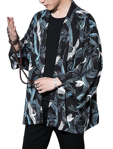 Amazon.com: Lavnis Kimono Cardigan Casual Algodón Lino Siete ...