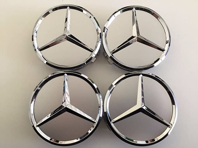 Insignia de Mercedes-AMG para centro de llantas de aleación de plata, 4 unidades: Amazon.es: Coche y moto
