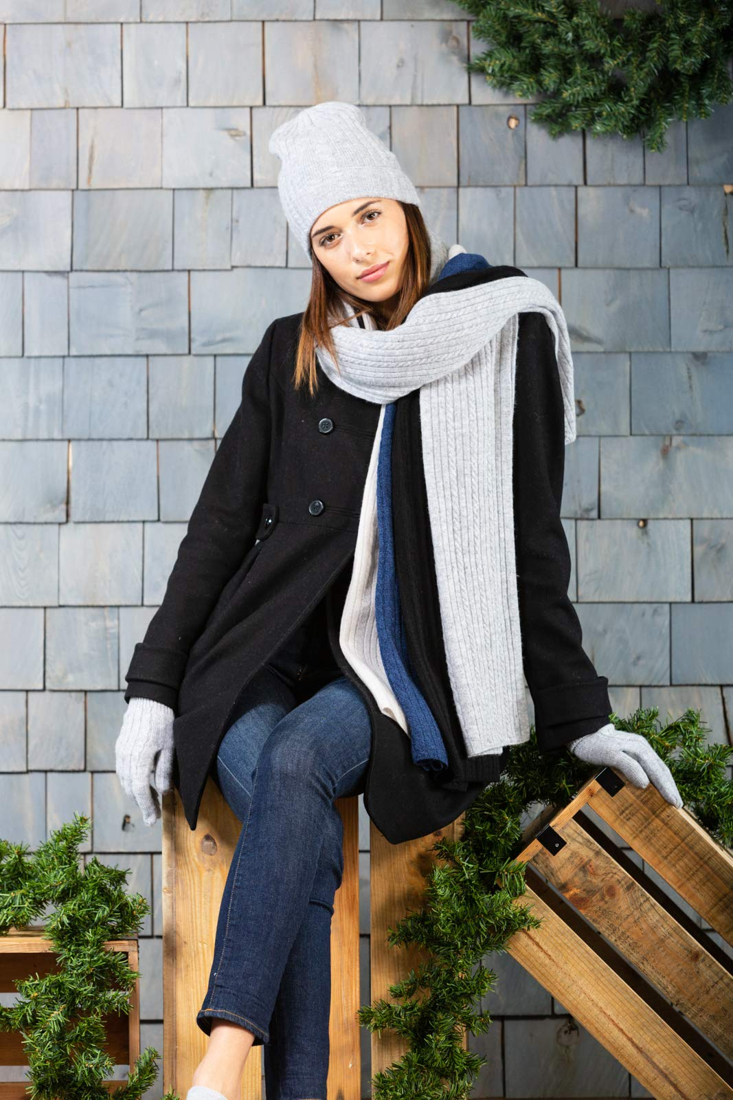 Fishers Finery Women's Cashmere Cable Knitted Scarf; Christmas Gift (Black) by Fishers Finery (Image #6)