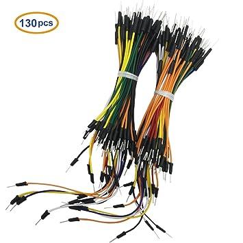 COMeap 130pcs Flexible sin soldadura Breadboard Cables de puente Macho a Macho 1P a 1P para Arduino Breadboard: Amazon.es: Electrónica