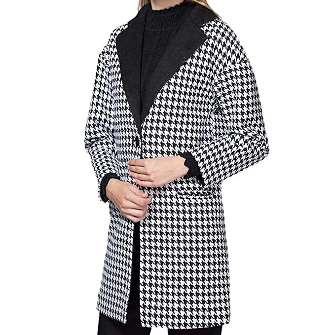 Amazon.com: AOJIAN Women Jacket Long Sleeve Outwear Lapel Button Houndstooth Pocket Office Work Coat: Clothing