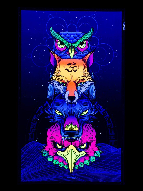 0,50x0,82m PSYWORK Schwarzlicht Stoffposter Neon Sentymo Animal Stack