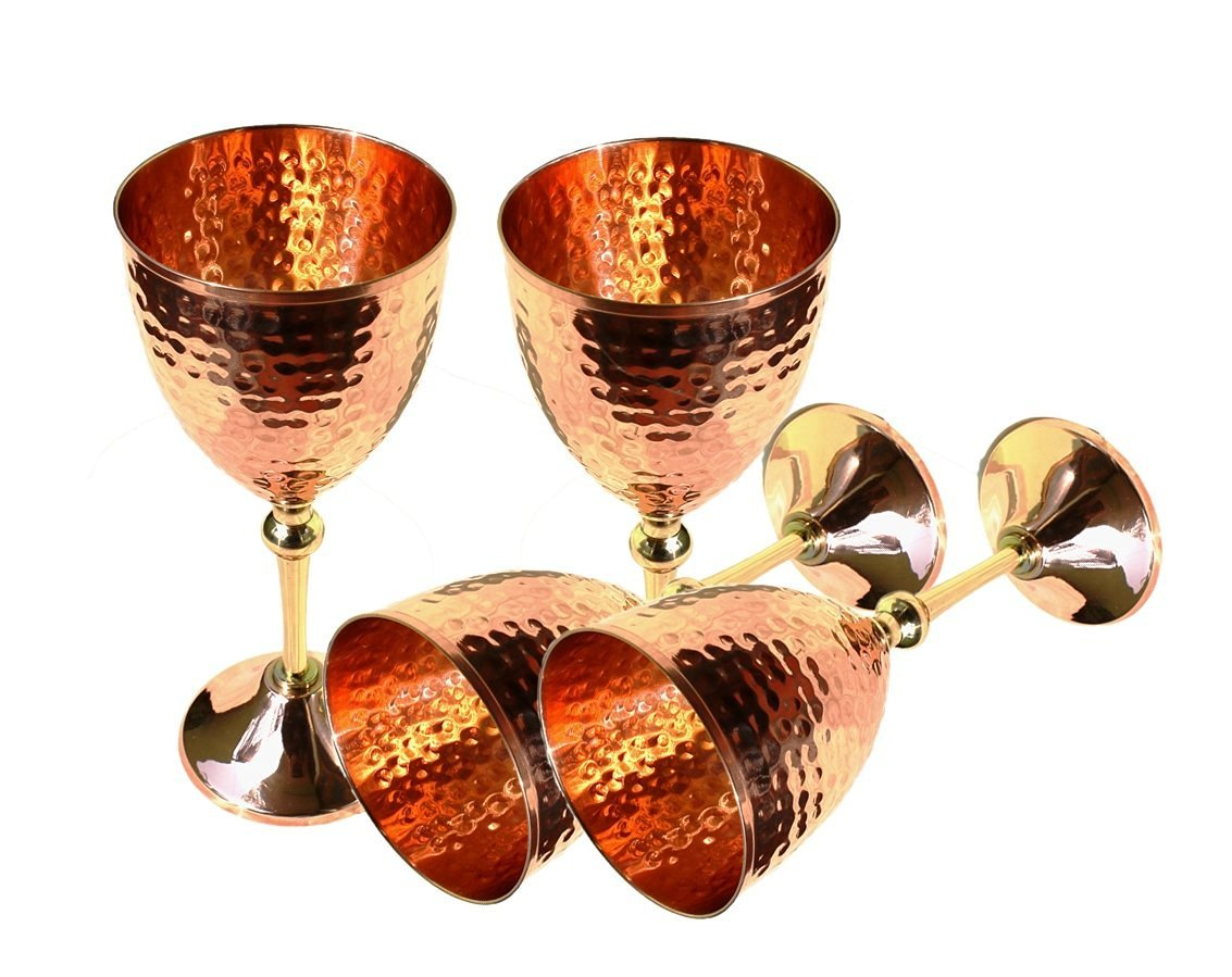 STREET CRAFT Set of 4 100% Authentic Hammered Copper Wine Goblet Hammered Copper Moscow Mule Copper Mug Cup Capacity 16 Oz