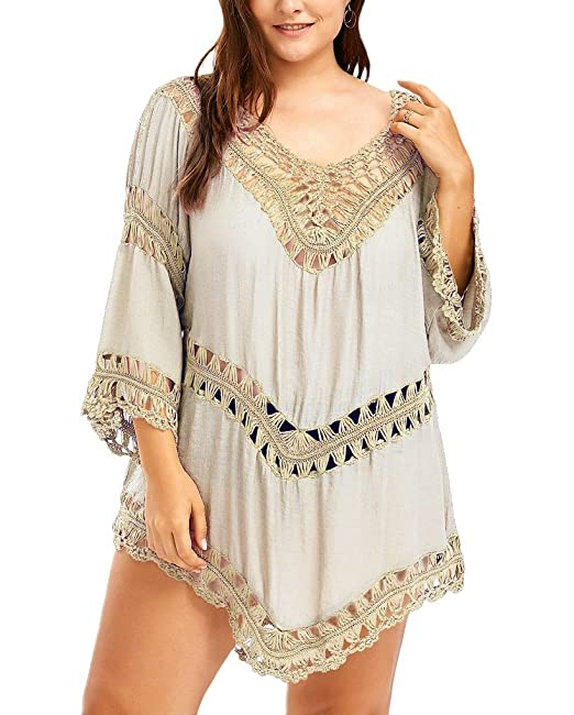 babf002074 Fenxxxl Womens V Neck Crochet Boho Tops Knit Splice Irregular Hem Tunic  Shirt F25 Apricot