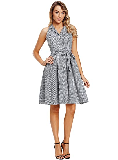 b97a59884c PYL Women s Sleeveless Button Up Houndstooth Vintage Dress at Amazon ...