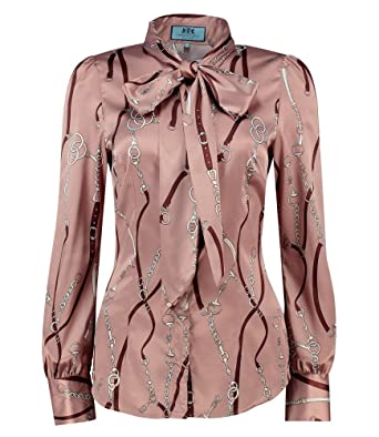 a552f376fceb9 HAWES   CURTIS Womens Brown   Beige Chains Print Fitted Satin Blouse - Elegant  Pussy Bow