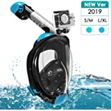 Snorkel Mask, Full Face Snorkeling Mask with Easy Breathing & 180° Panoramic Design, Anti-Fog Anti-Leak Diving Mask with Adjustable Head Straps & Detachable Camera Mount for Adults Kids - 2019 Newest