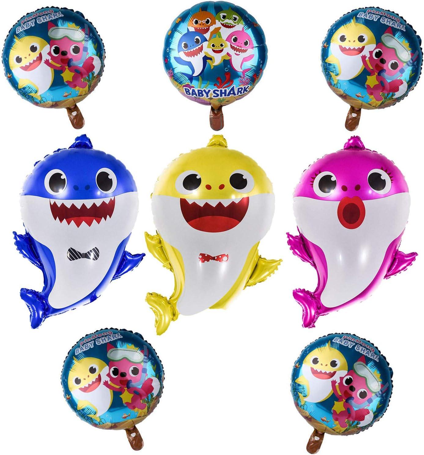 Shark Foil Cute 10pcs Family Balloons Kids Birthday Party Decorations.