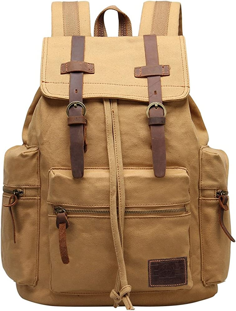GINGOOD Canvas Backpacks Vintage Rucksack Casual Leather Army Kipling Knapsack 19L