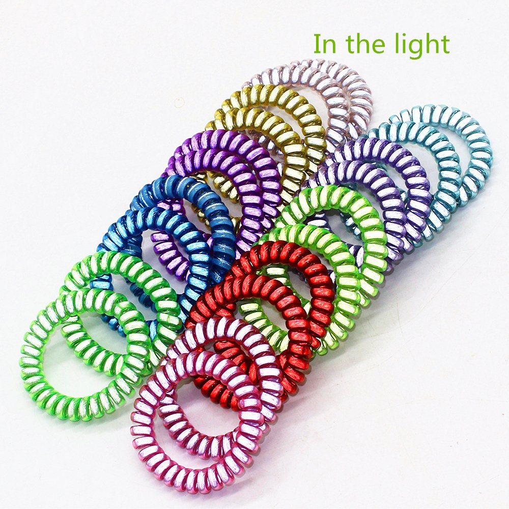 20 Packs Mix Color Plastic Coil Stretch Wristband Elastic Stretchable Spiral Bracelet Key Ring/Key Chain/Key Hook/Key Holder for Gym, Pool, ID Badge and Outdoor Sports (Fluorescence) by ZHU YU CHUN (Image #4)