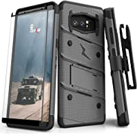 Zizo Bolt Series Compatible with Samsung Galaxy Note 8 Case Military Grade Drop Tested with Tempered Glass Screen Protector Holster Metal Gray Black