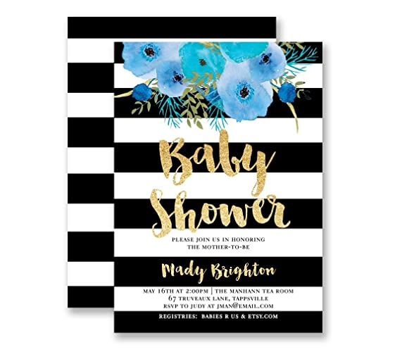 Amazon boy baby shower invitation black white stripe gold boy baby shower invitation black white stripe gold glitter look modern its a boy blue filmwisefo Images