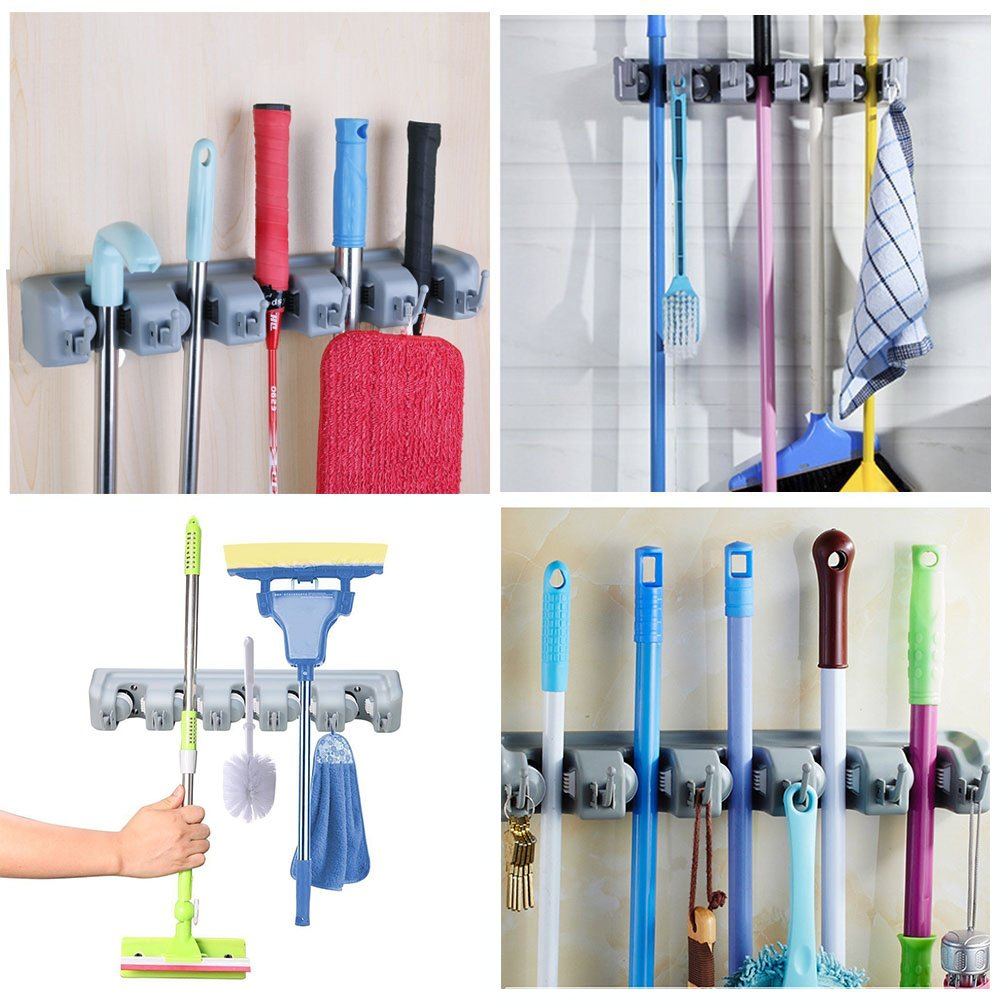 DayBuy Mop and Broom Holder Wall Closet Mounted with 5 Positionand 6 Hooks Organizer Rakes Automatic Handle Grips Household Tool and Garage Storage Organization Racks