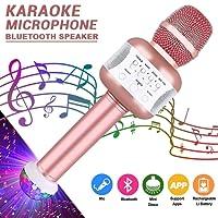Microphone Karaoke Sans Fil, Bluetooth Karaoké Microphone Enregistrement des Chansons Haut-parleur AUX Batterie Portable 4.1 Haut-parleur Karaoké pour PC, ordinateur portable, iPhone, iPad, Android Smartphone (Rose)