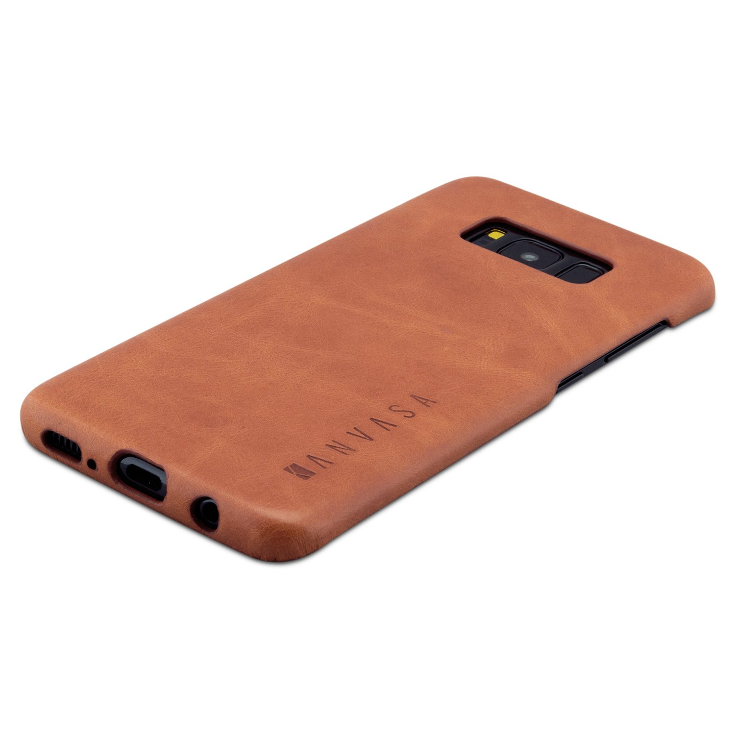 super popular 11730 f38ad Galaxy S8 Leather Case Back Cover Brown - KANVASA