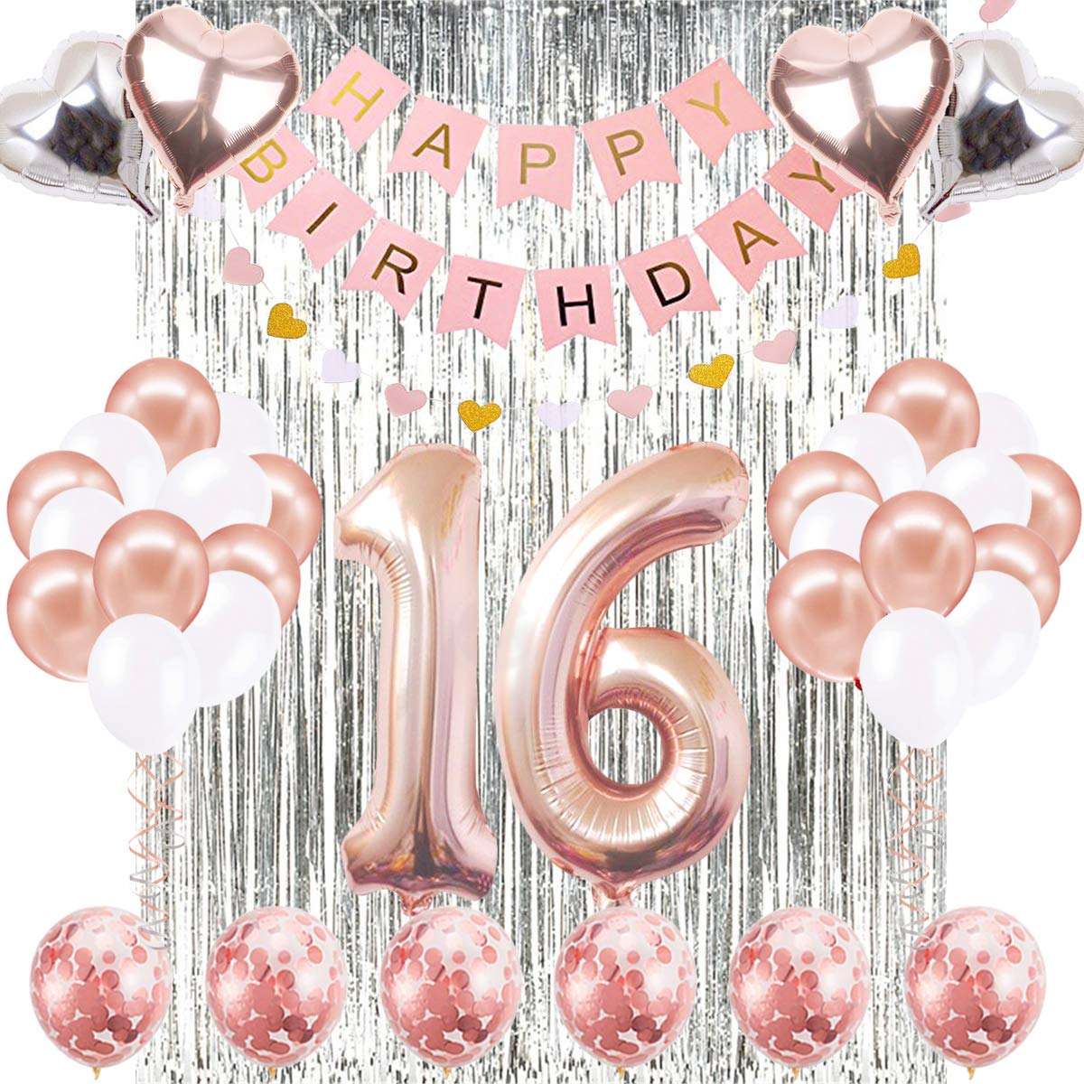 16th Birthday Decorations Banner Balloon, Happy Birthday Banner, 16th Rose Gold Number Balloons, Number 16 Birthday Balloons, 16 Years Old Birthday Decoration Supplies Sweet Sixteen Decorations