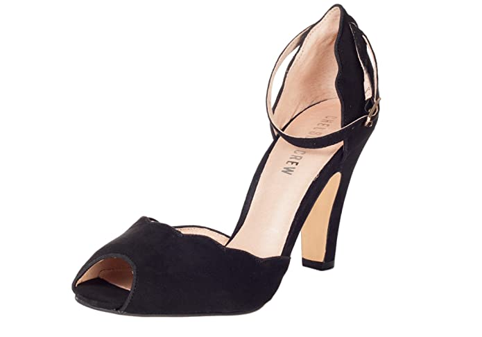1940s Womens Shoe Styles Chelsea Crew LEAF Retro Scalloped Classic Peep Toe Suede Vintage Pump  AT vintagedancer.com