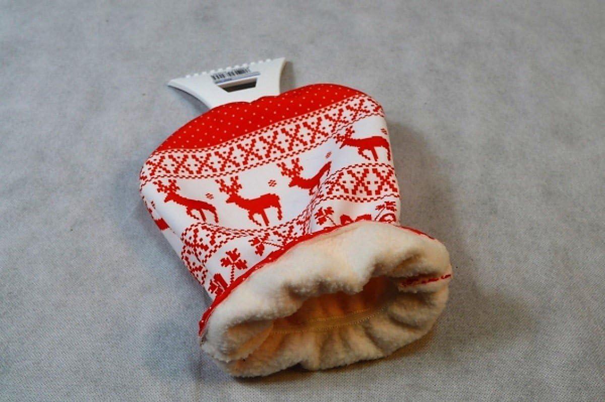 Auto Eiskratzer Eisschaber Rot mit Handschuh Norwegen Muster Neu Winter