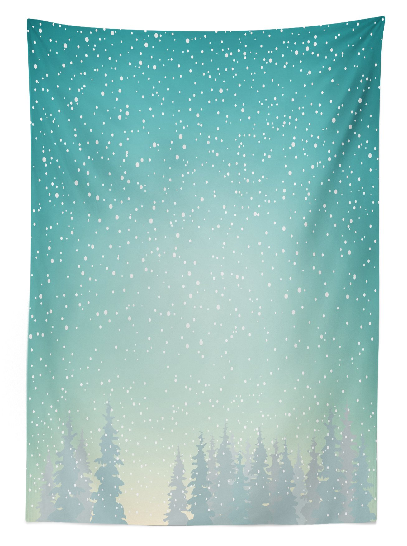 Ambesonne Winter Outdoor Tablecloth, Snow Falls on The Spruce Forest Fir Trees Seasonal Nature Woods ICY Cold Xmas, Decorative Washable Picnic Table Cloth, 58 X 84 inches, Turquoise White by Ambesonne (Image #1)