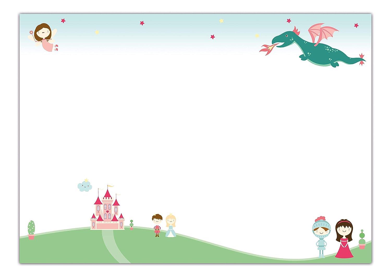 25 fogli sottomano Sottomano da scrivania Principessa in carta da strappare 60 x 42 cm ragazze e adulti per bambini DIN A2 con motivo fiabe