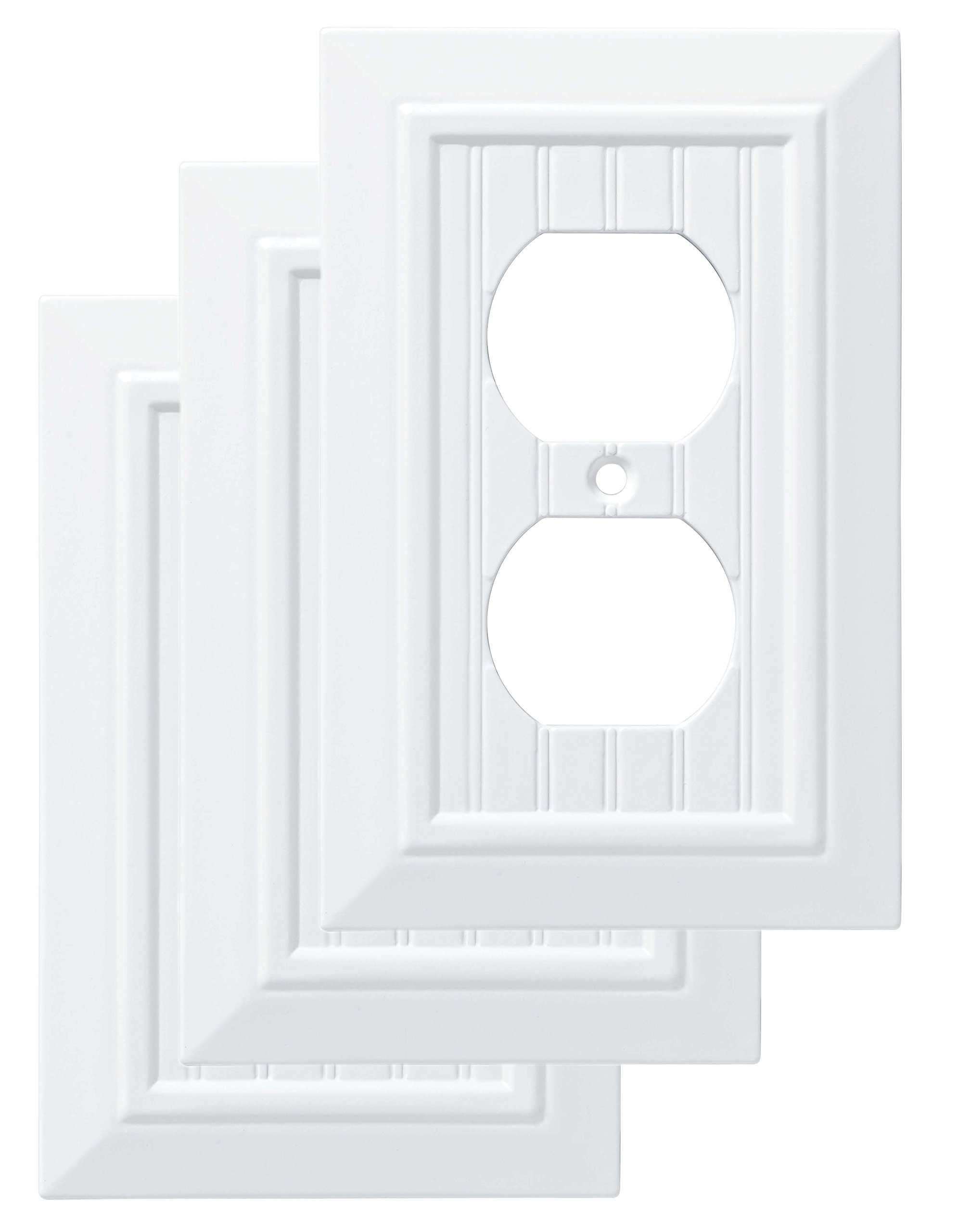 Franklin Brass W35266V-PW-C Classic Beadboard Single Duplex Wall Plate/Switch Plate/Cover (3 Pack), Pure White by Franklin Brass