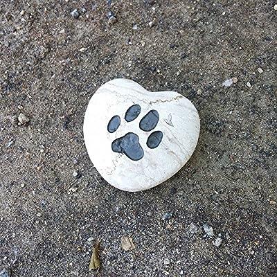 Paw Print Engraved Pet Memorial Stone Heart Shape Jasper Rock, Loss of Pet Gift, Indoor Outdoor Garden, Backyard, Lawn Decor Stone