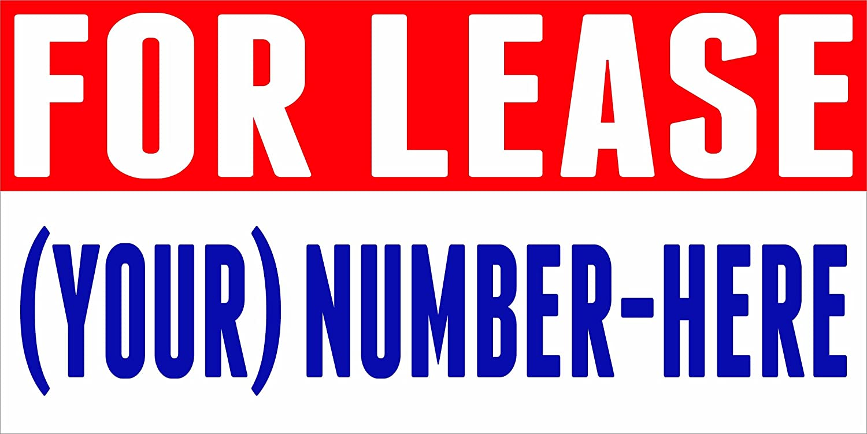 3' X 5' For Lease Sign Banner 13oz Vinyl Full Color Banner Hemmed & Grommets Indoor / Outdoor
