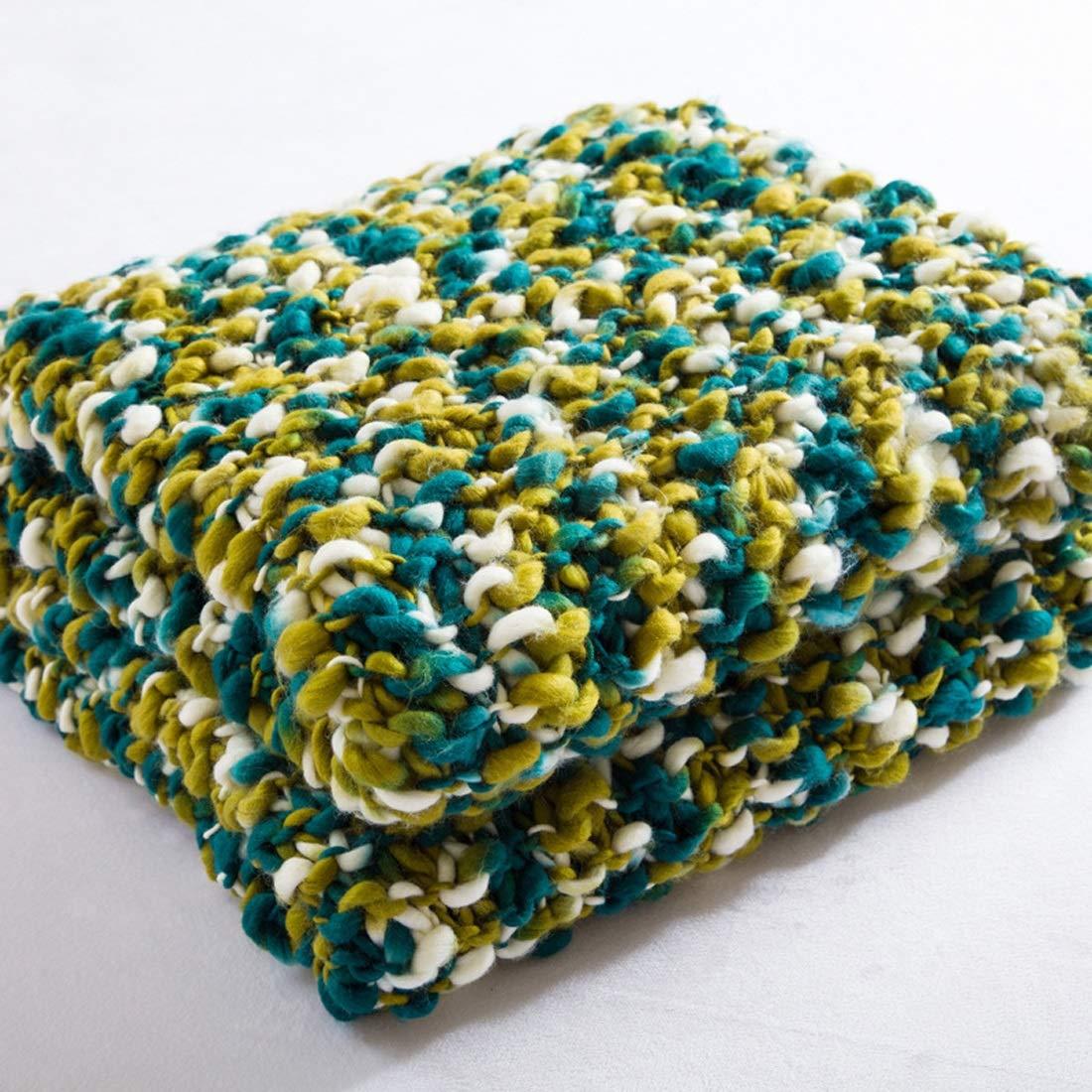 CAFUTY 毛布手編みの家庭用写真小道具レジャー軽量ソファカバーでホームニット (Color : オレンジ) B07MBX2Q11 オレンジ