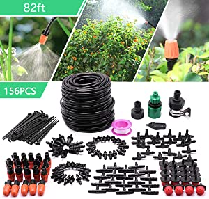 "CARER SPARK Drip Irrigation Kit,Garden Irrigation System with 82ft 1/4"" Blank Distribution Tubing Hose,Greenhouse Drip Irrigation Set Automatic Saving Water System for Garden,Lawn"
