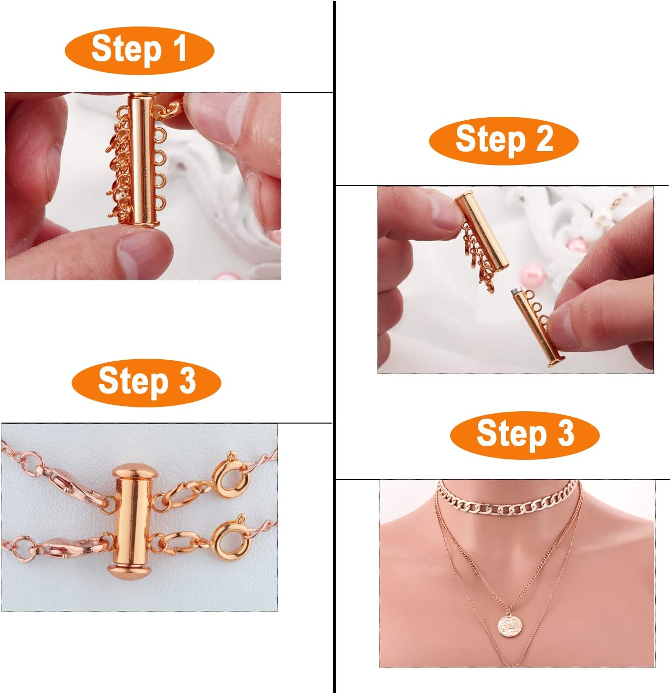 Rose Gold 8 Pieces 4 Sizes Slide Clasp Lock Necklace Connector Multi Strands Slide Tube Clasps with Storage Box for Layered Bracelet Necklace Jewelry Crafts
