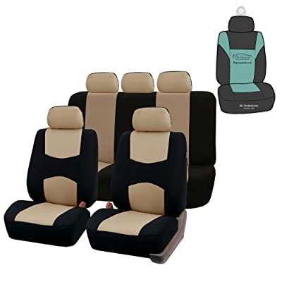 FH Group FB051115 Multifunctional Flat Cloth Seat Covers (Beige) Full Set with Gift - Universal Fit for Trucks, SUVs, and Vans: Automotive